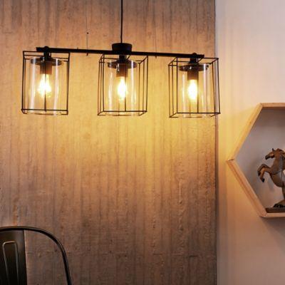 Lámpara Colgante 3 luces E27 Tubos Vidrio Negro