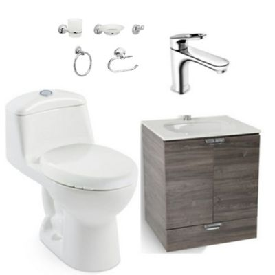 Combo Smart : Sanitario Redondo Smart + Mueble Cascade Petite + Lavamanos Petite + Grifería Koral + Accesorios Palermo