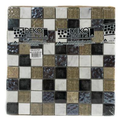 Mosaico Decorado Marmol vidrio 27.7cm x 27.7cm Negro