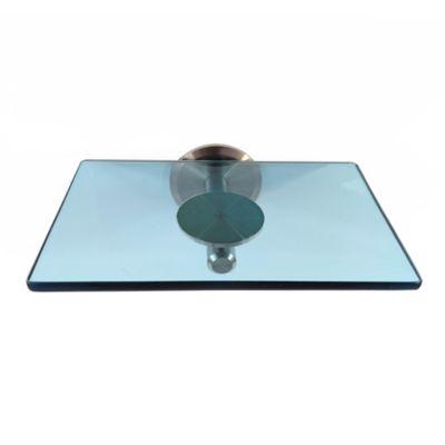 Jabonera de Ducha en Vidrio Bluesense  5cm Alto x 14cm Ancho x 12cm Largo Vidrio azul Tenue Translúcido Soporte Gris