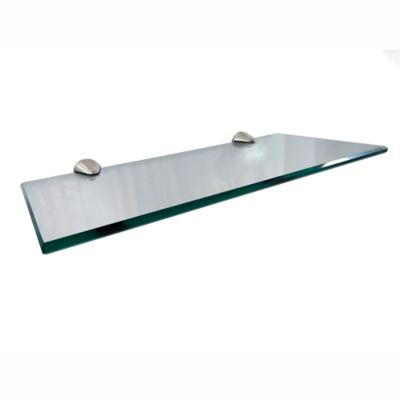 Repisa en Vidrio Inspira 2.5cm Alto x 16.5cm Ancho x  30cm Largo Vidrio Incoloro Soportes Grises