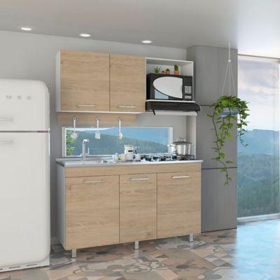 Cocina Integral Miro 1.50 Metros 2 Puertas 2 Cajones Blanco - Rovere