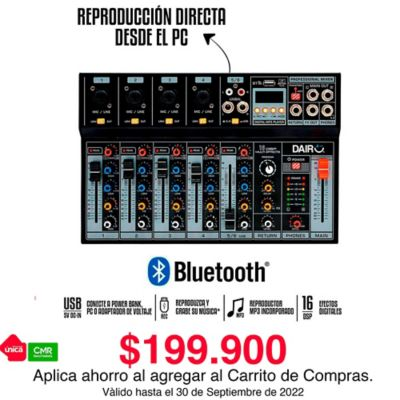 Consola Mezclador Audio 6 Canales Bluetooth Y MP3