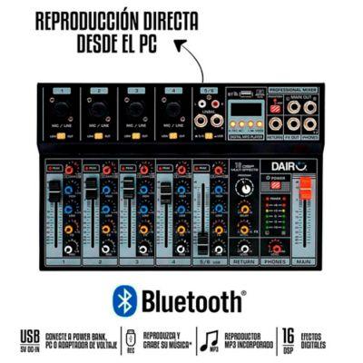 Consola Mezclador Audio 6 Canales Bluetooth Y MP3