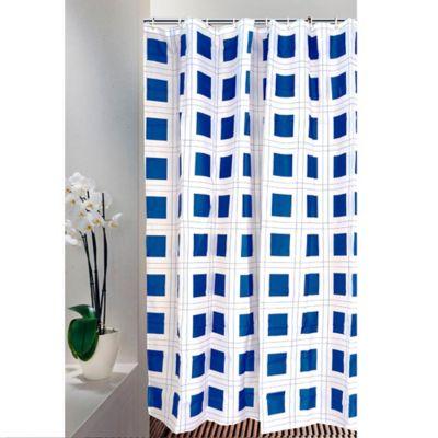 Cortina para Baño 200 x 180 cm Cuadro Azul