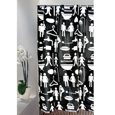 Cortina para Baño 200 x 180 cm Negro Bath