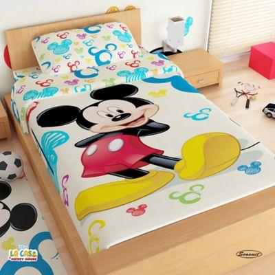 Juego de Sábanas Sencillo Microfibra 100x190 cm Mickey Mouse