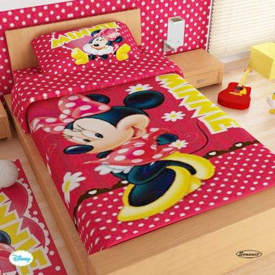 Juego de Sábanas Sencillo Microfibra 100x190 cm Minnie Mouse