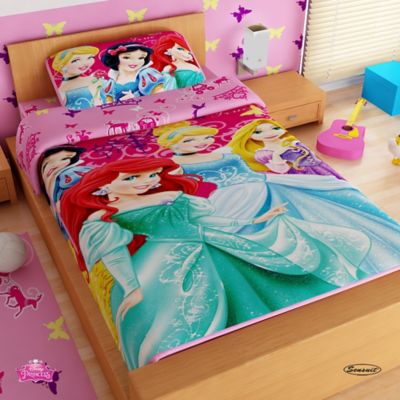 Juego de Sábanas Sencillo Microfibra 100x190 cm Princesas Rosado
