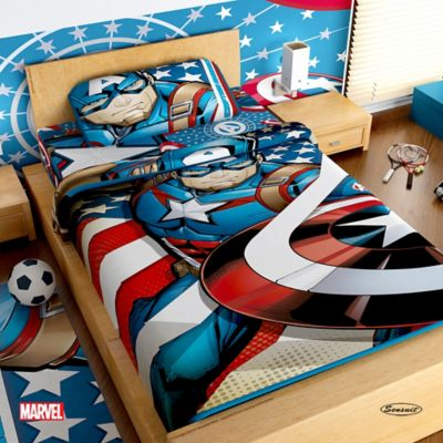 Juego de Sábanas Sencillo Microfibra 100x190 cm Capitán América