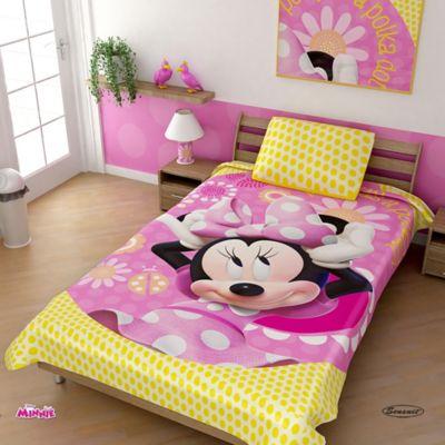 Cobija Rashel Estampada 160x220 cm Minnie Mouse Amarillo-Rosado