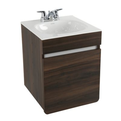 Mueble De Baño Aluvia Elevado Habano Con Lavamanos 45x45 cm
