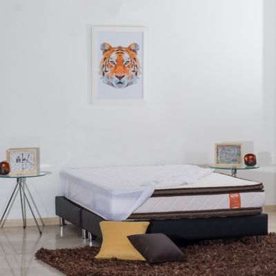 Combo Colchón Soft Pillow Semidoble 120x190cm + Base Cama + Protector