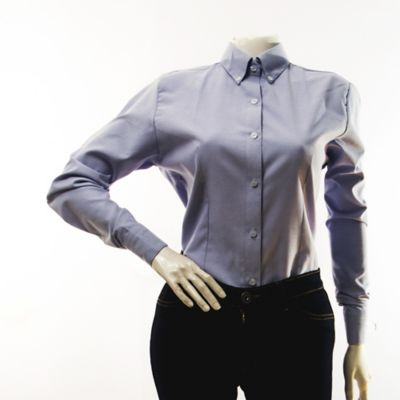 Blusa Oxford Manga Larga Azul