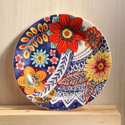Plato 22x22cm Floral Blue