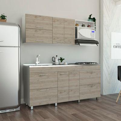 Cocina Integral Granada 1.80 Metros 8 Puertas 2 Cajones Ceniza con Meson Izquierdo 4 Puestos a Gas