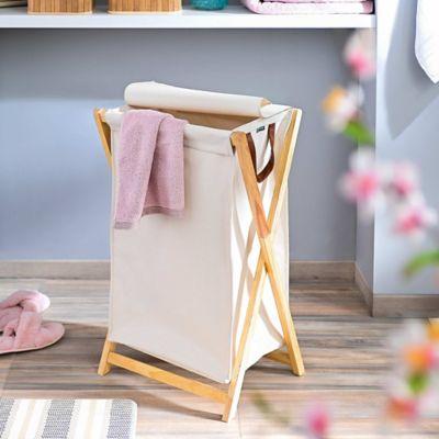 Canasta Para La Ropa En Material Textil Y Base De Pino