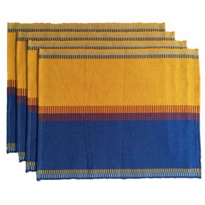 Set x4 Individuales Tejido a Mano Azul/Amarillo/Ladrillo