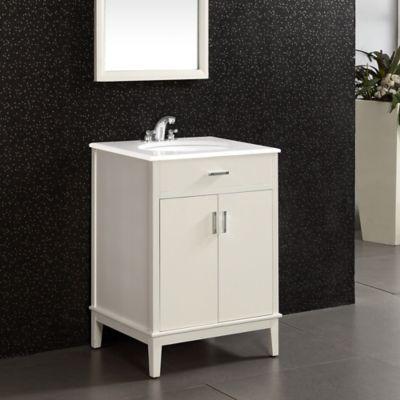 Mueble con Lavamanos Urban 63.5cm Ancho 2 Puertas con Superficie en Marmol  Blanco de Cuarzo Blanco