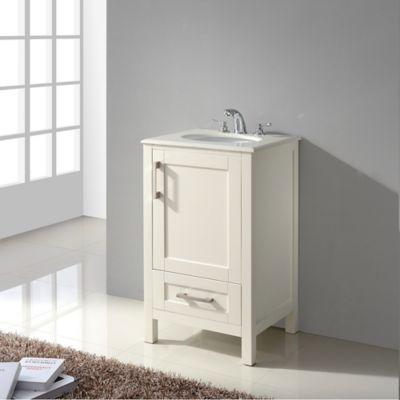 Mueble con Lavamanos Westbridge 53.3cm Ancho 1 Puerta - 1 Cajón  con Superficie en Marmol  Blanco de Cuarzo