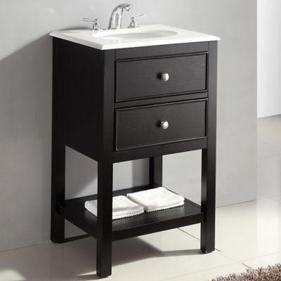 Mueble con Lavamanos Wilmington 53.3cm Ancho 2 Cajónes con Superficie en Marmol Blanco Negro