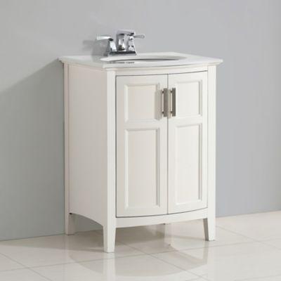 Mueble con Lavamanos Winston 63.5cm Ancho 2 Puertas Redondeadas y Superficie en Marmol de Cuarzo Blanco