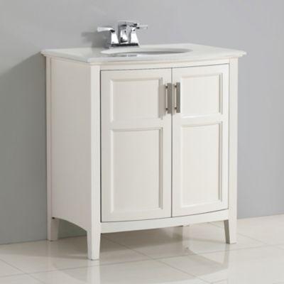 Mueble con Lavamanos Winston 78.74cm Ancho 2 Puertas Redondeadas  y Superficie en Marmol Blanco