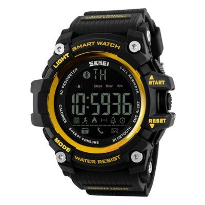 Smartwatch Digital Luz Fondo Negro Dorado 1227