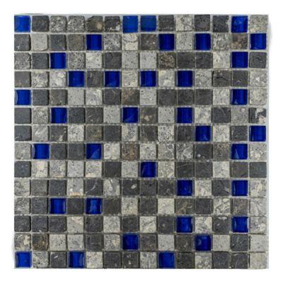 Mosaico Caja x3 Unidades Decorado Mármol Malla Vidrio 30.5cmx30.5cm Azul