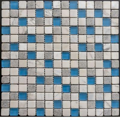 Mosaico x 3 Unidades Decorado Mármol Malla Vidrio 30.5cm x 30.5cm Marron