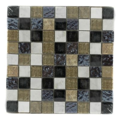 Mosaico x 3 Unidades Decorado Mármol vidrio 27.7cm x 27.7cm Negro