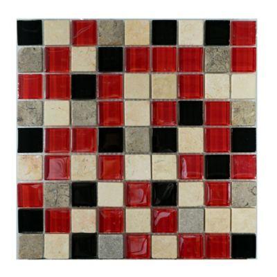 Mosaico x 3 Unidades Decorado Mármol vidrio 27.7cm x 27.7cm Rojo