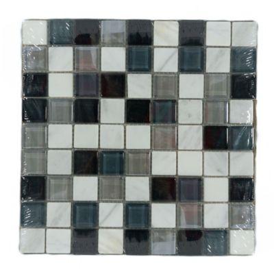 Mosaico x 3 Unidades Decorado Mármol vidrio 27.7cm x 27.7cm Azul