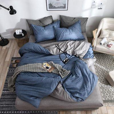 Duvet Unicolor Doble Faz Doble 200x230 cm Azul Marino - Gris