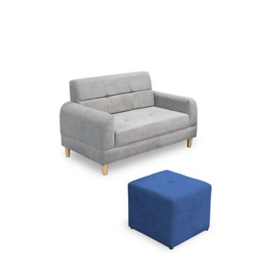 Sofá Mónaco Gris + Puff 40x40cm Azul