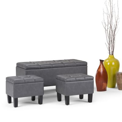 Set 3 Puff Dover 50x112x51 Gris Oscuro