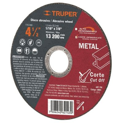 Disco Corte Metal Uso General Espesor 2 Mm 4.1/2