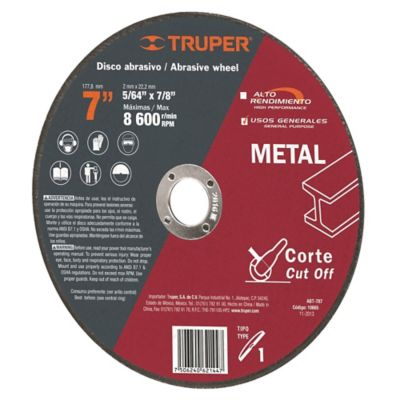 Disco Corte Metal Uso General Espesor 2 Mm 7Pulg