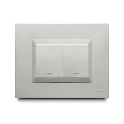 Interruptor Conmutable Doble Blanco Plura Veto