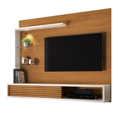 Panel para TV Suspensa Frizz 135x160x37 Natural/Blanco