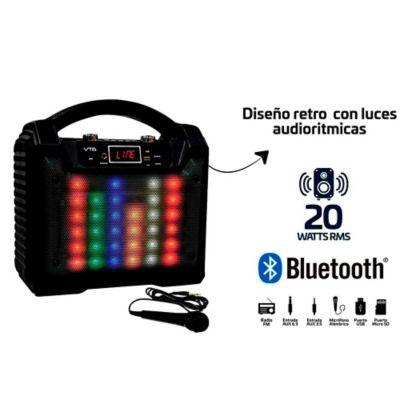 Amplificador Recargarble 20wrms Luces Audioritmicas Radio FM