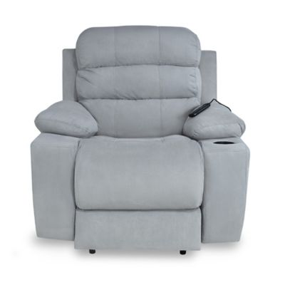 Reclinable Vibromasaje Houston Tela 90x95x100 Gris Claro