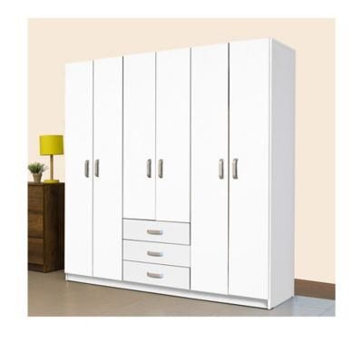 Armario 6 Puertas 3 Cajones 180x180x49.8cm Blanco
