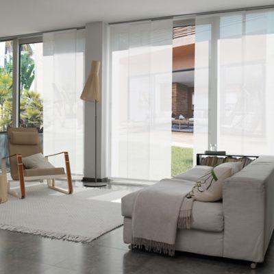 Cortina Panel Oriental Solar Screen 10 Blanco A La Medida Ancho Entre 370.5-390  cm Alto Entre  320.5-340 cm
