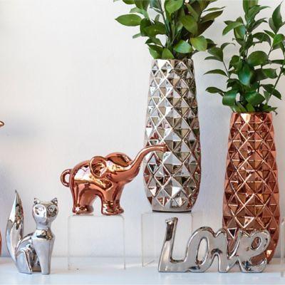 Escultura Elefante Origami Cobre 15 cm