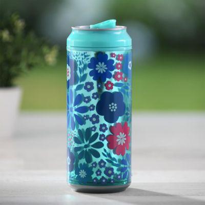Botella Tipo Lata Azul Floral -  16 Onzas