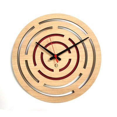 Reloj de Pared 004 34x34 cm Madera Carvalho - Rojo