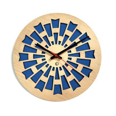 Reloj de Pared 002 34x34 cm Madera Carvalho - Azul
