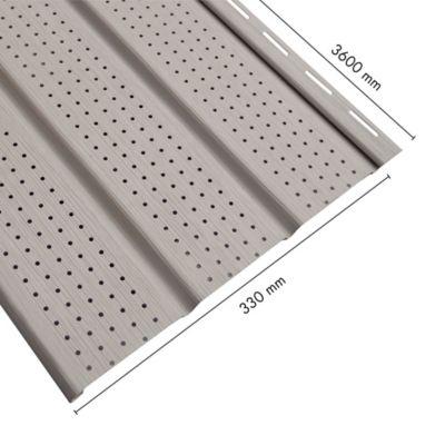 Alero Perforado Vinyl Siding PVC Gris 0.33X3.66M