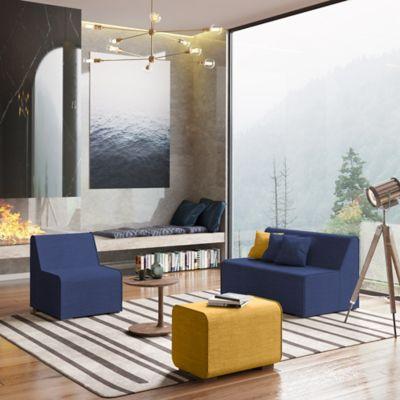 Sala Milenial Duster Azul Puff Amarillo